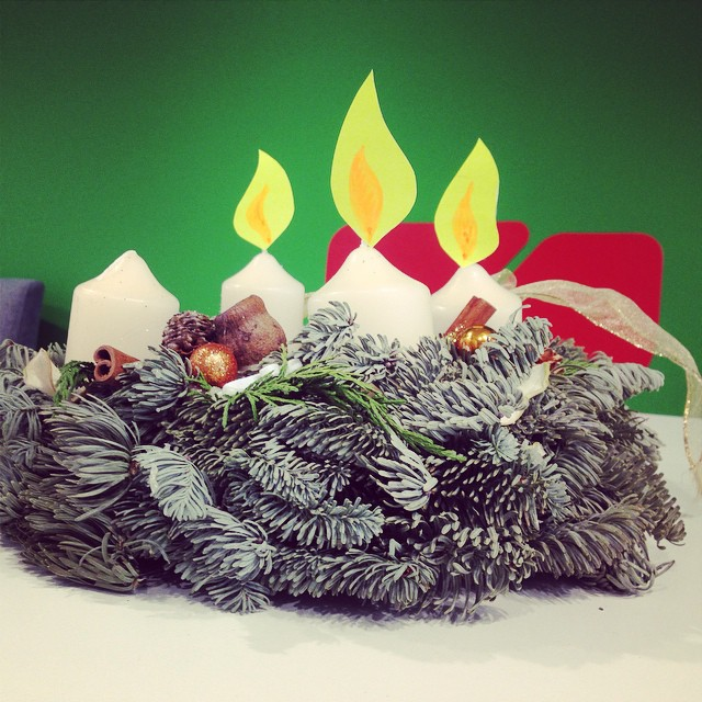 Our #adventwreath ? Soon the 4th #candle lights. #advent #wuvienna