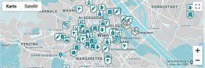 Stadtplan Wien mit Sharing-Initiativen